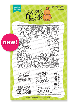 Floral Fringe | Flowers Stamp Set with Square border by Newton's Nook Designs #newtonsnook