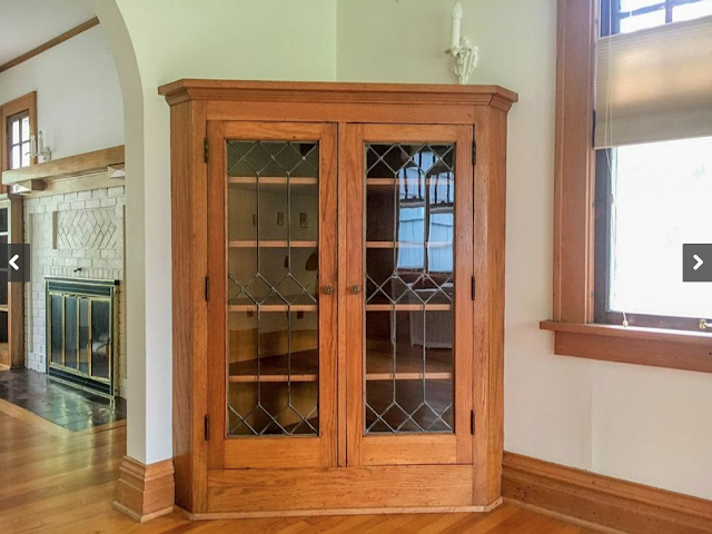 Sears corner bookcase with leaded glass doors Sears Barrington 210 Ridgedale Rd, Ithaca, NY dining room