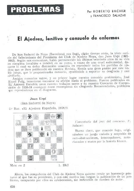 Problema de mate en 2 de Josep Ripoll, El Ajedrez Español, 1962
