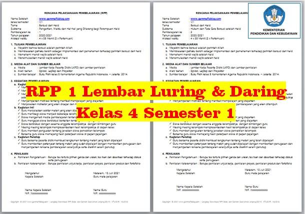 Download RPP 1 Lembar Kelas 4 Semester 1 K13 Luring dan Daring Semua Mata Pelajaran