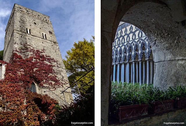 Torre Maggiore e o Chiostro Moresco, na Villa Rufolo, Ravello, Costa Amalfitana