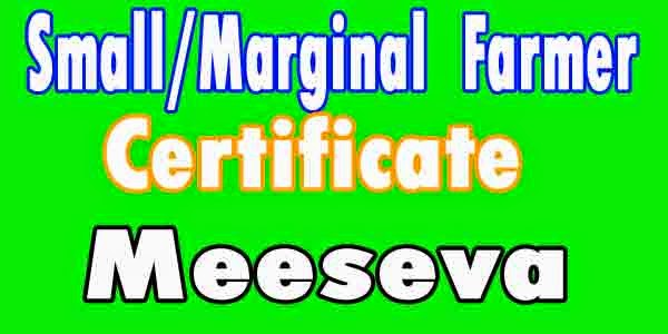 Small/Marginal Farmer Certificate Apply in Meeseva