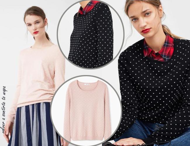 Jersey rosa/negro puntitos blancos de Mango