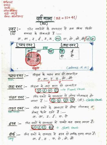 Hindi Handwritten Notes : for CTET/UPTET Exam Hindi pdf