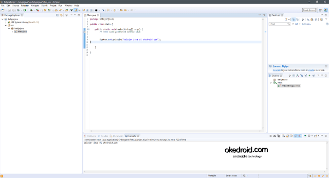 Tampilan User Interface Eclipse IDE Java