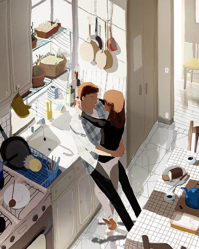 Man Creates Heartwarming Illustrations Of The Everyday Life With His Wife - Sharing random intimate moments together