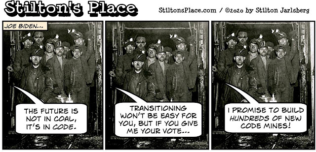 stilton's place, stilton, political, humor, conservative, cartoons, jokes, hope n' change, biden, campaign, malarkey, miners, code