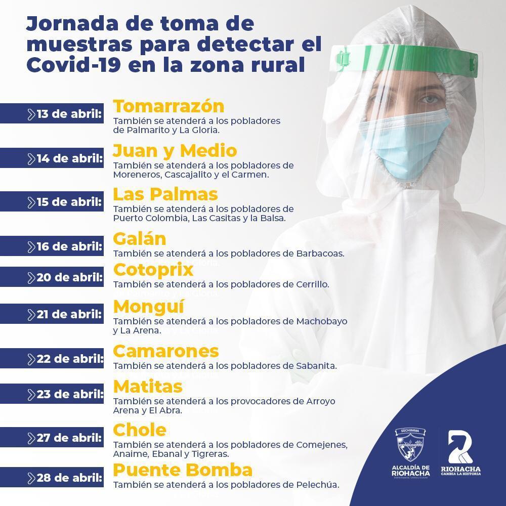 hoyennoticia.com, El 13 de abril arranca toma de muestra para Covid-19 en zona rural de Riohacha