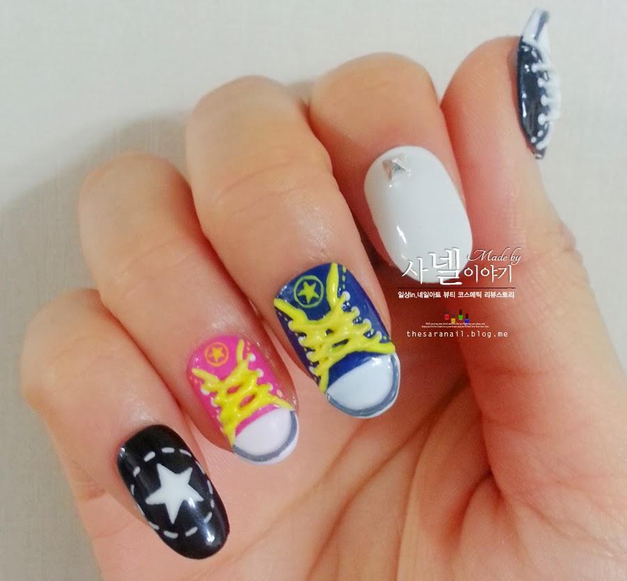 Nail Art Couture Converse Nail Art: SARA NAIL: [Saranail] Real Converse Nail/ Sneakers Nail