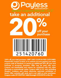 Payless Shoes coupons february 2017