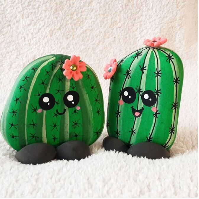 Happy cactus rock painting idea