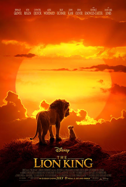 Movie poster for Walt Disney Pictures's live action 2019 remake of The Lion King, starring Donald Glover, Beyonce, James Earl Jones, JD McCrary, Shahadi Wright Joseph, Chiwetel Ejiofor, Billy Eichner, Seth Rogen, and John Oliver