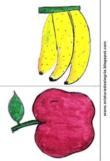 Desenho de banana e maçã