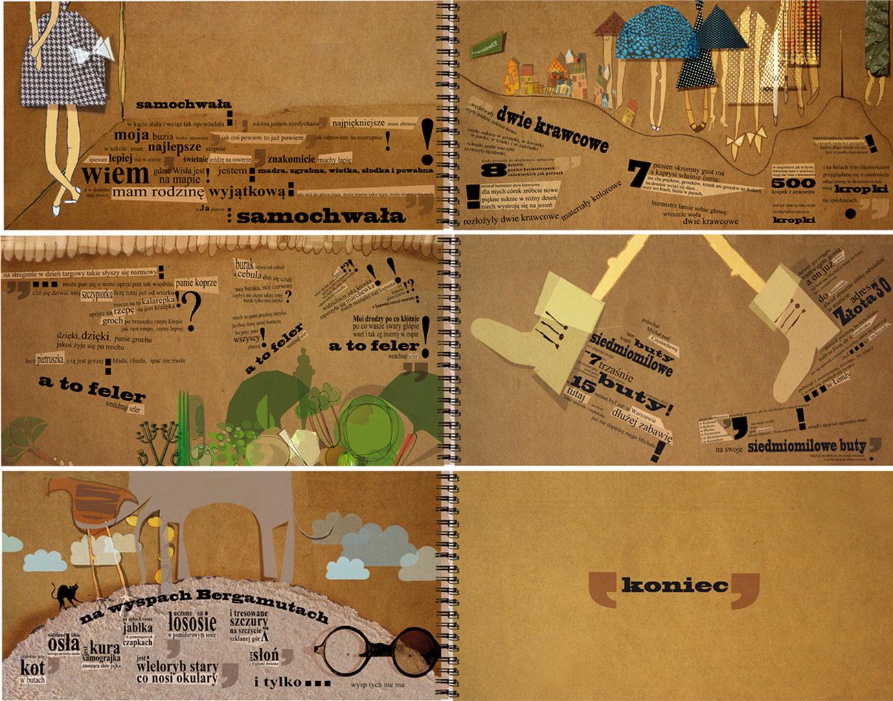 ilustracja dla dzieci ilustratorka Urbaniak wiersze jana brzechwy sepia
