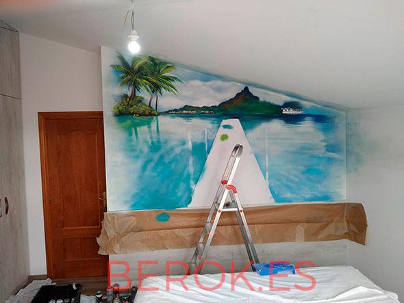 mural playa dormitorio proceso