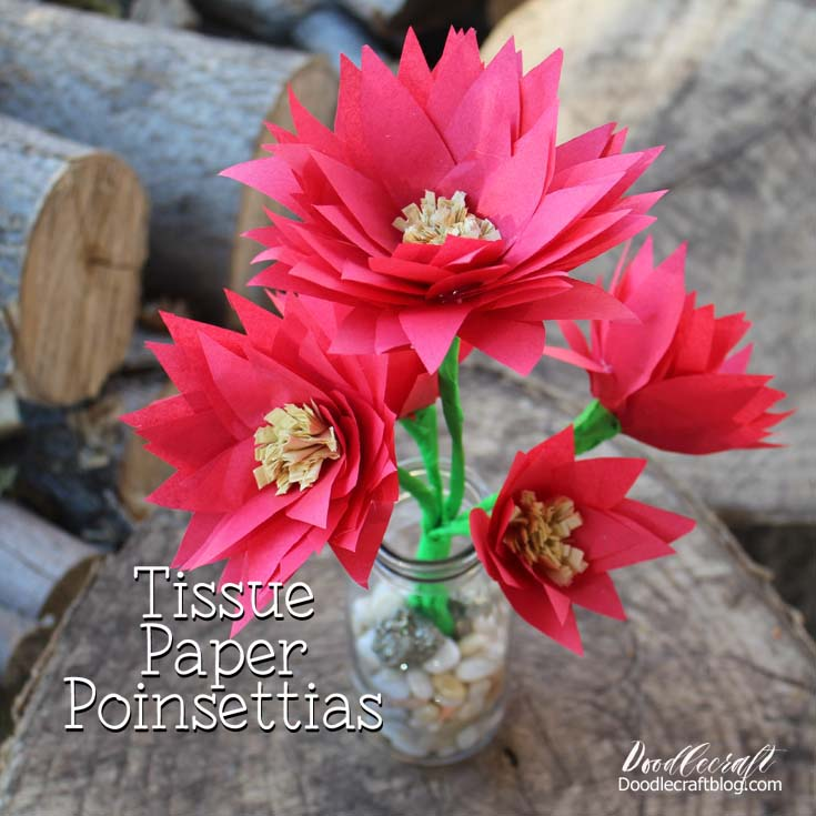 Make poinsettias out of tissue paper for the perfect centerpiece