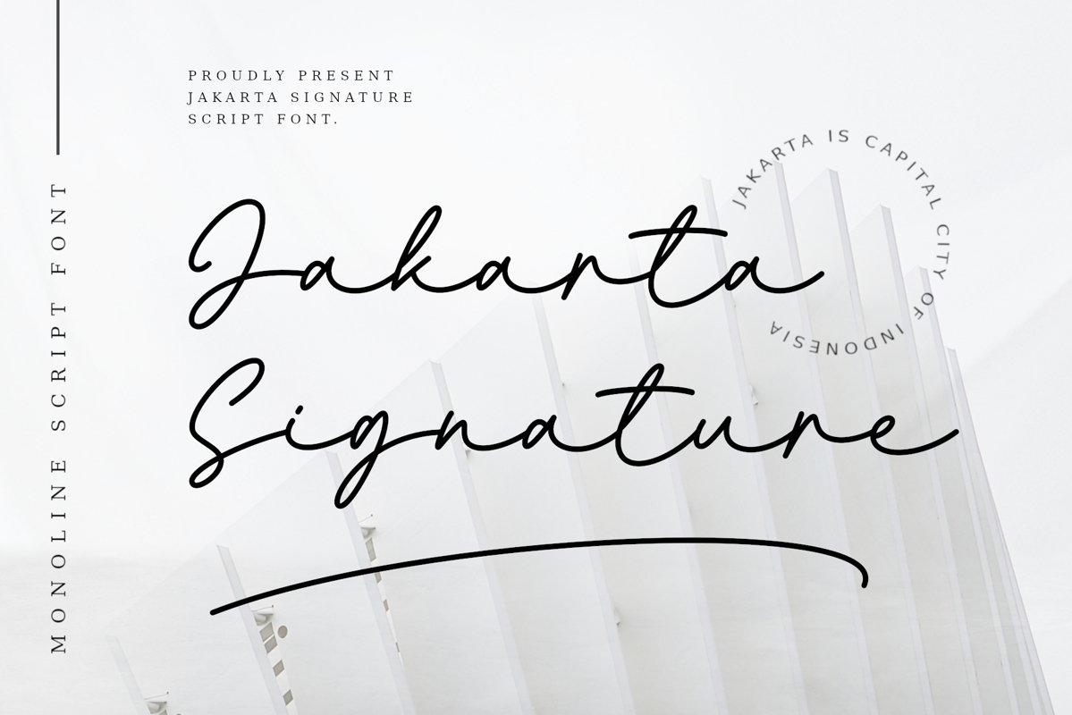 Jakarta Signature Font - Free Monoline Script Typeface