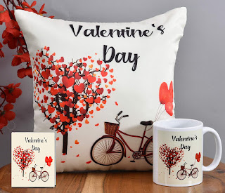 Valentine Day Gift for Husband Wife Boyfriend Girlfriend Him Her - Valentines Special Printed Cushion with Filler, Greeting Card, Coffee Mug