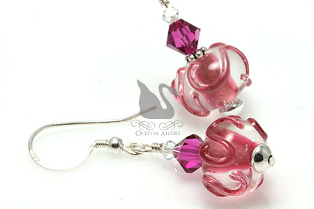 Pink Crystal Swirl Lampwork Beaded Earrings (EL249)