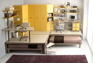 awesome yellow modular shelving unit plus awesome loft desk and purple fluffy area rug