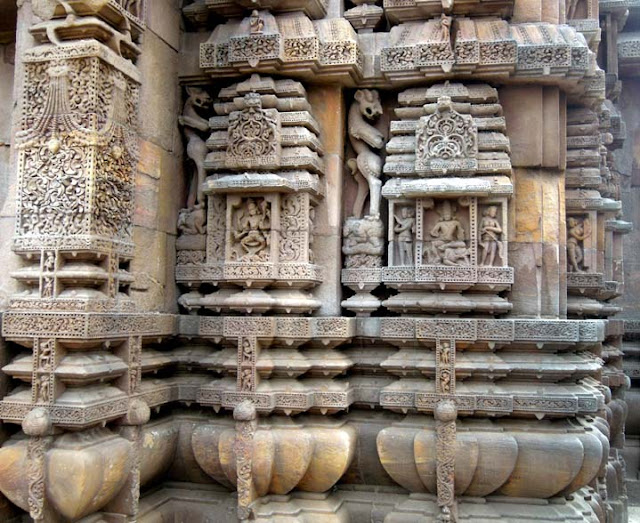 Intricate carvings on the shikhara at the Brahmeswara Temple, Bhubaneshwar