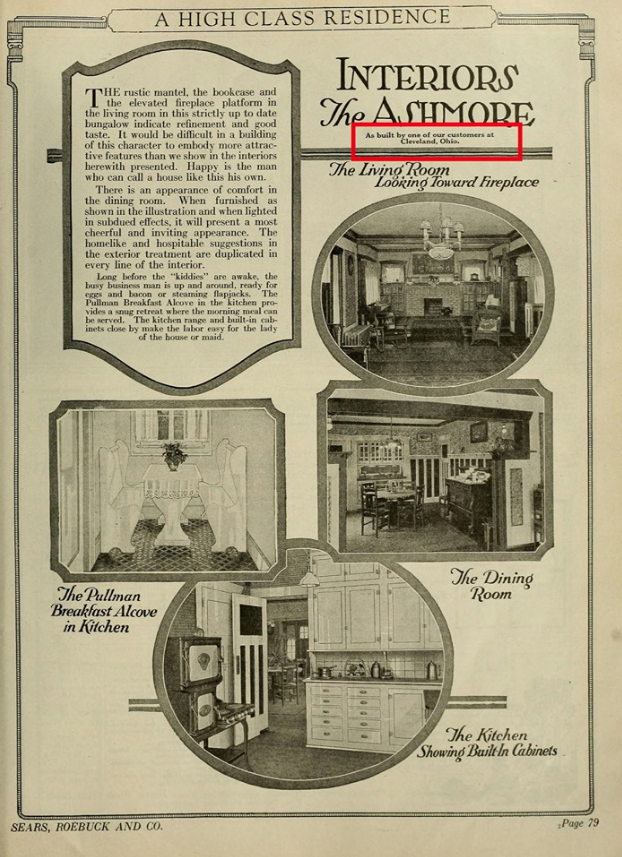 James J Humpal testimonial Sears Ashmore in Cleveland Heights, shown in 1922 Sears catalog