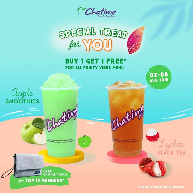 #Chatime - #Promo Buy 1 Get 1 For All Fruity Vibes Menu (s.d 08 Agustus 2019)