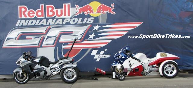 RedBull Moto GP Indianapolis Drag Trikes Motorcycle Conversion