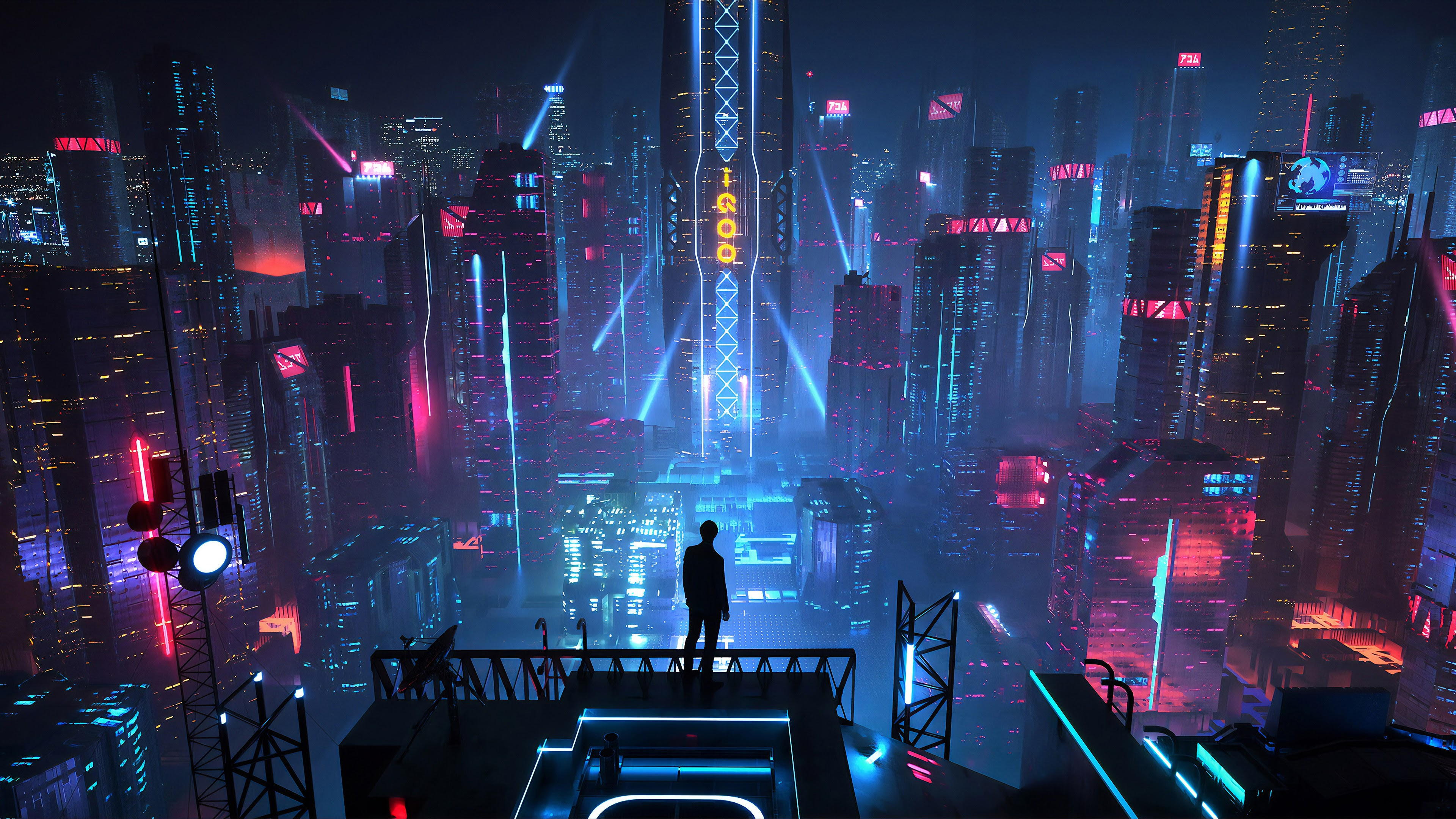 Sci Fi City Buildings Night Cityscape 4k 142 Wallpaper