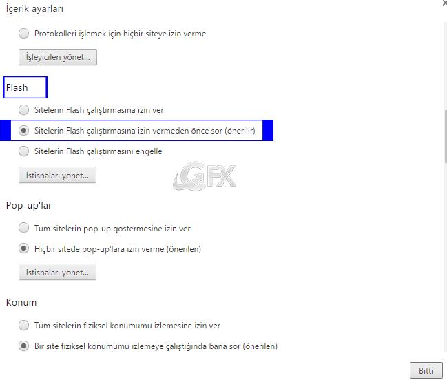 Sitelerin Flash çalıştırmasına izin vermeden önce sor