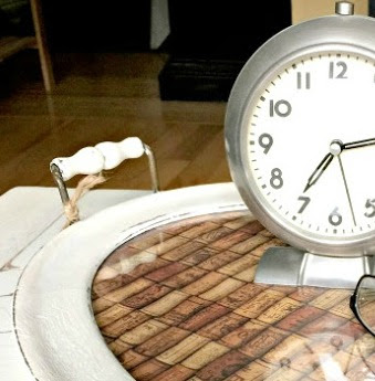 cork tray with clock
