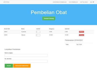 Keranjang Belanja - Aplikasi Apotek Berbasis Web Gratis