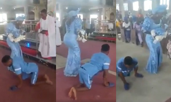 Watch the lovely video of how a disabled man dances to the alter with his wife  as they dedicate their newborn baby in a church in Delta (video)