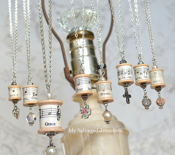 My salvaged treasures spool necklaces and a repurposed lamp for Repurposed jewelry holder
