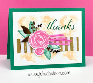 Stampin' Up! Artistically Inked Thank You Card + Video ~ www.juliedavison.com #stampinup