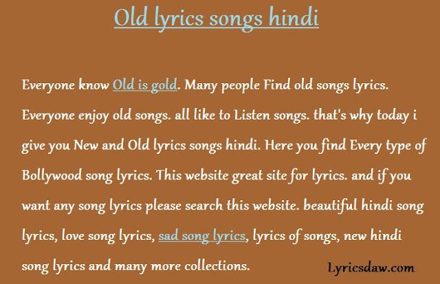 Old lyrics songs hindi