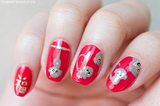Chinese New Year monkey nail art