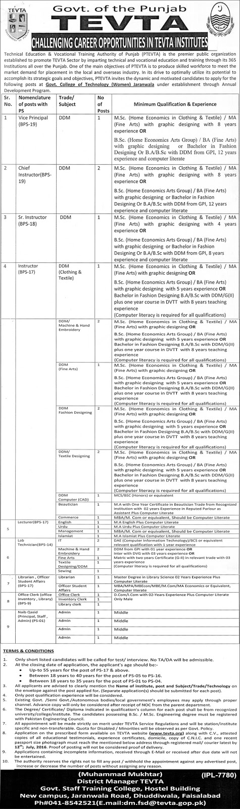 Lecturers & Instructors Jobs in TEVTA Faisalabad Jobs