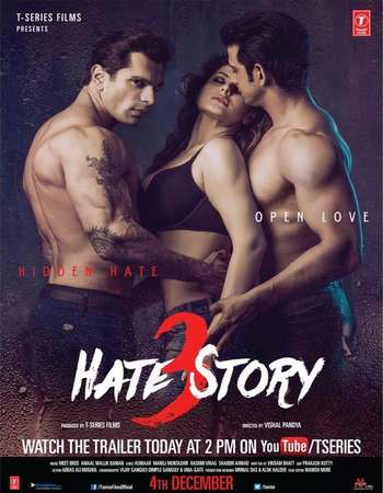 Poster Of Hate Story 3 2015 Hindi 720p DVDRip ESubs Free Download Watch Online