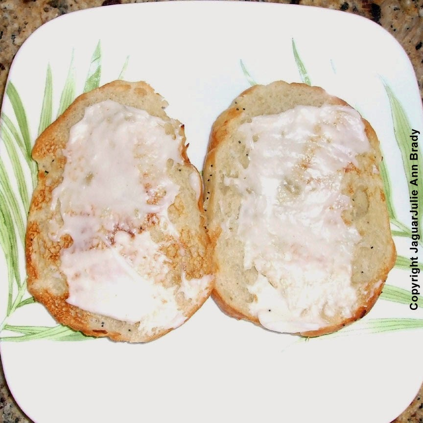 #4 - Add Kraft Miracle Whip dressing to both halves.