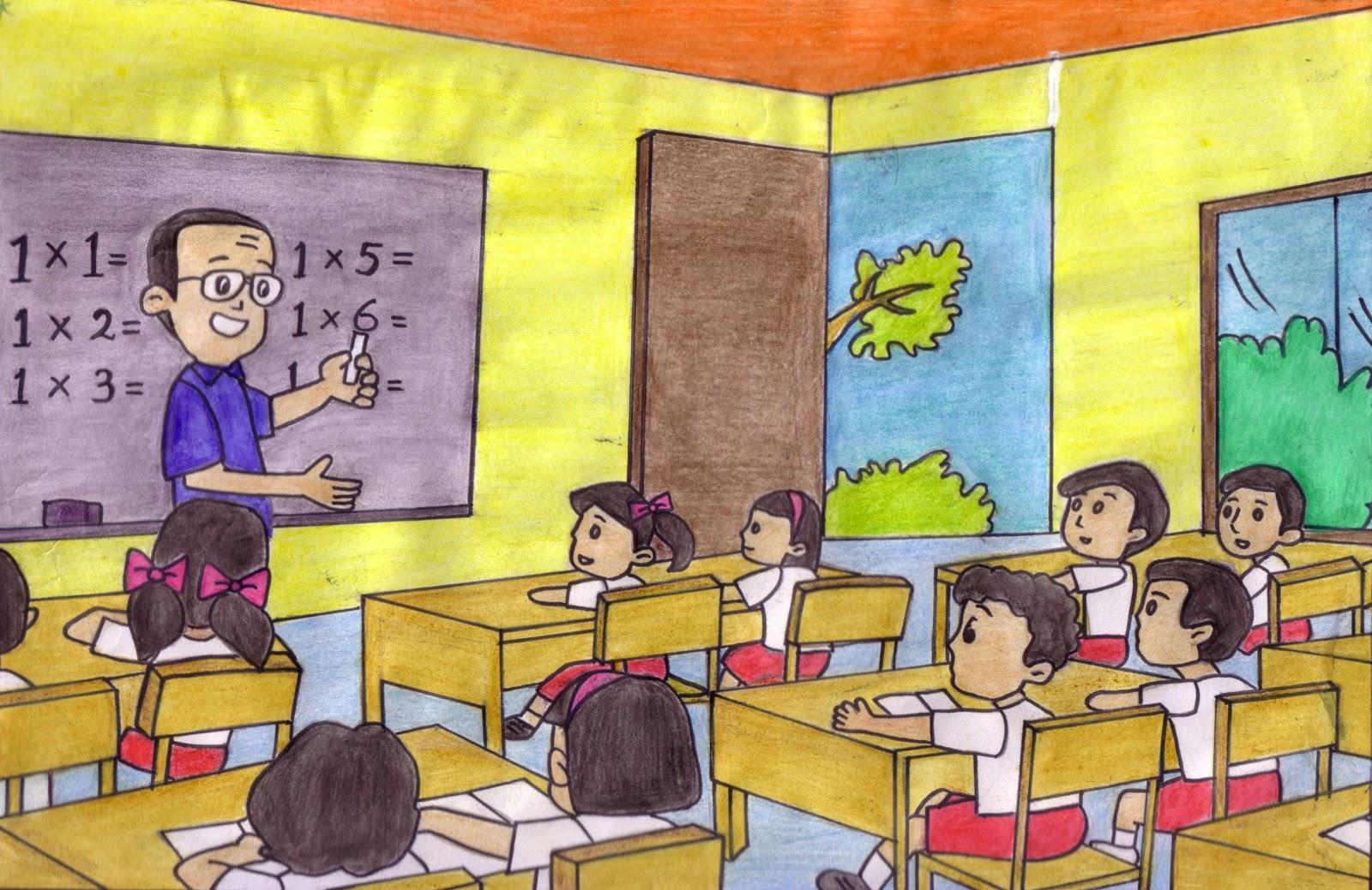 Gambar Kartun Lucu Keren Gambar Kartun Lagi Belajar Di Sekolah