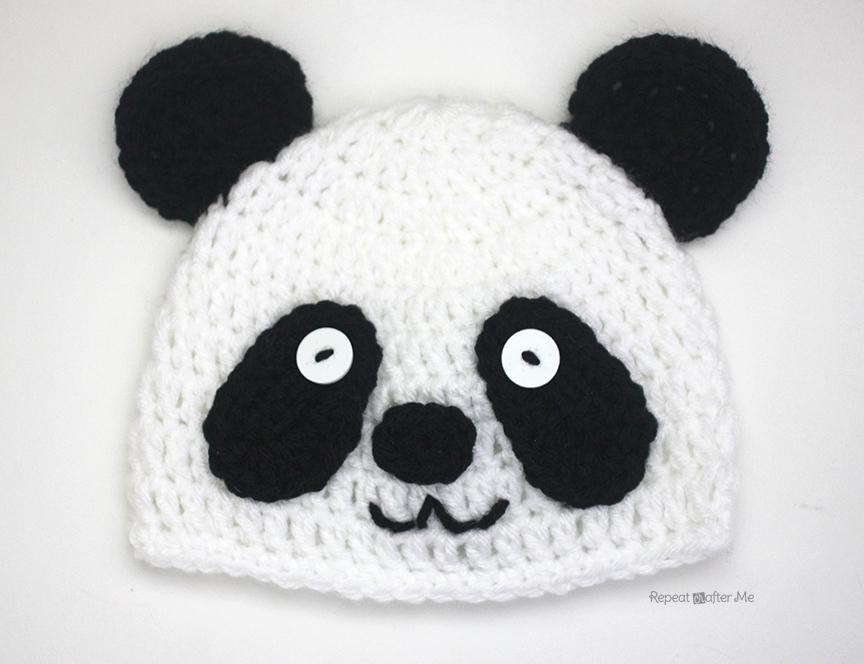 Knitting Pattern For Panda Hat : Crochet Panda Bear Hat - Repeat Crafter Me