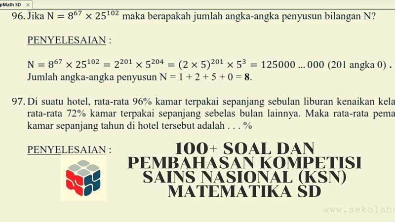 100+ Soal dan Pembahasan Kompetisi Sains Nasional (KSN) Matematika SD