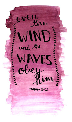 even the wind and the waves obey him Matthew 8:27 watercolor bookmark