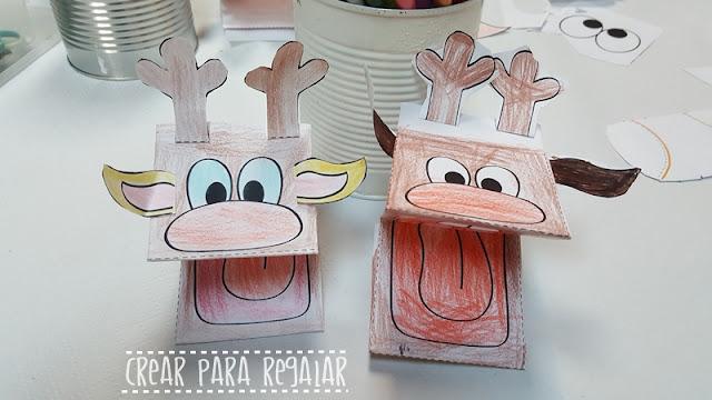 marioneta papel reno rodolfo manualidades para niños