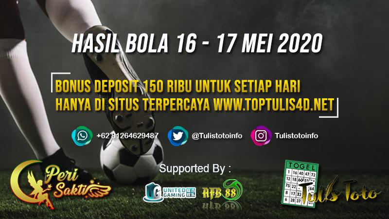HASIL BOLA TANGGAL 16 – 17 MEI 2020