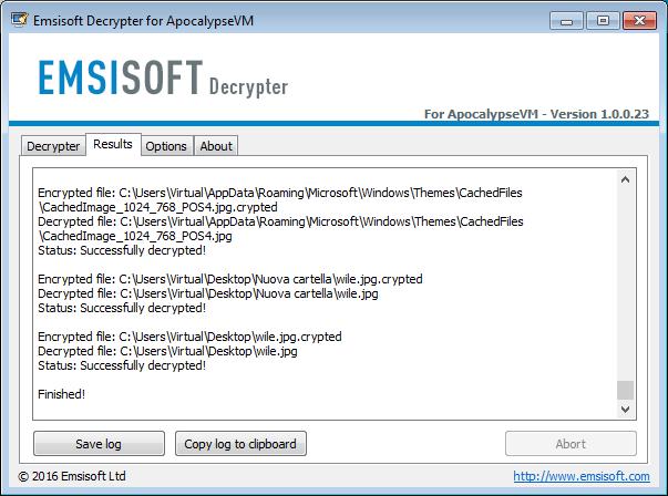 Emsisoft Decrypter for ApocalypseVM
