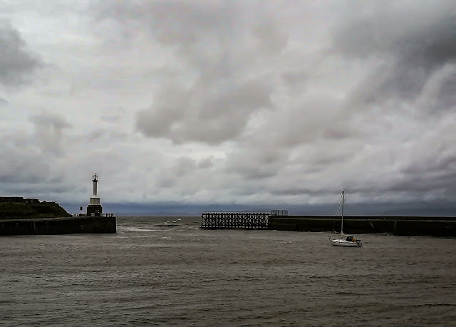 Photo of grey skies over Maryport Basin on Monday afternoon