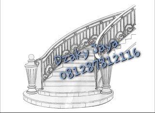 Desain Railing tangga Layang besi tempa minimalis dengan besi tempa klasik