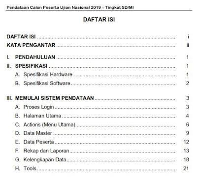 Buku Panduan pendataan calon peserta Ujian Nasional SD 2019